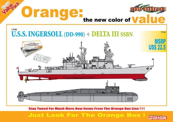 U.S.S Ingersoll DD 990 Vs Delta III 1:700 Plastic Model Kit CYBER HOBBY