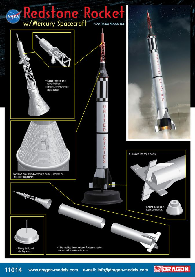 11014 - 1/72 Redstone Rocket w/Mercury Spacecraft - Dragon