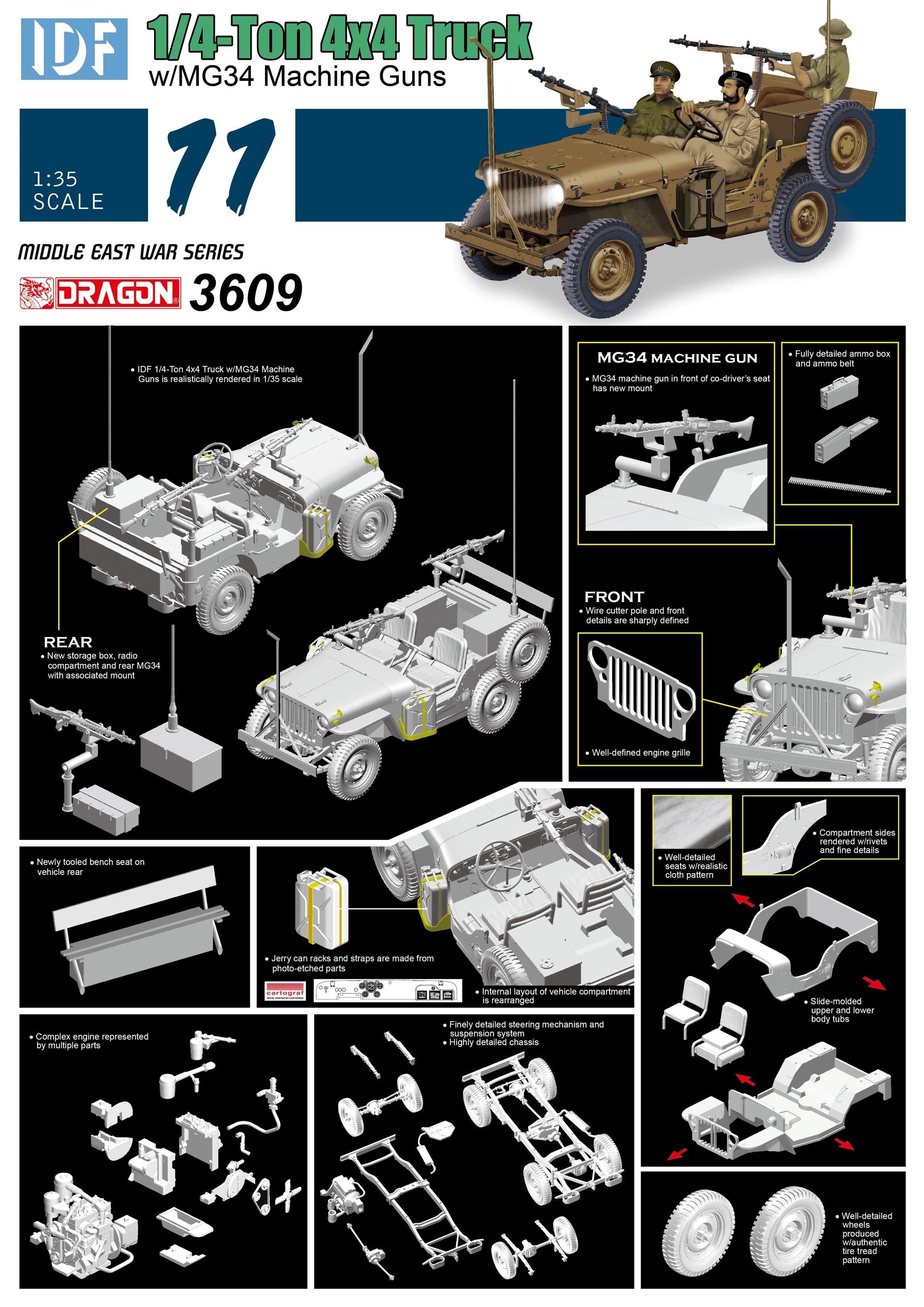 3609 - IDF 1/4-Ton 4x4 Truck w/MG34 Machine Guns - Dragon Plastic