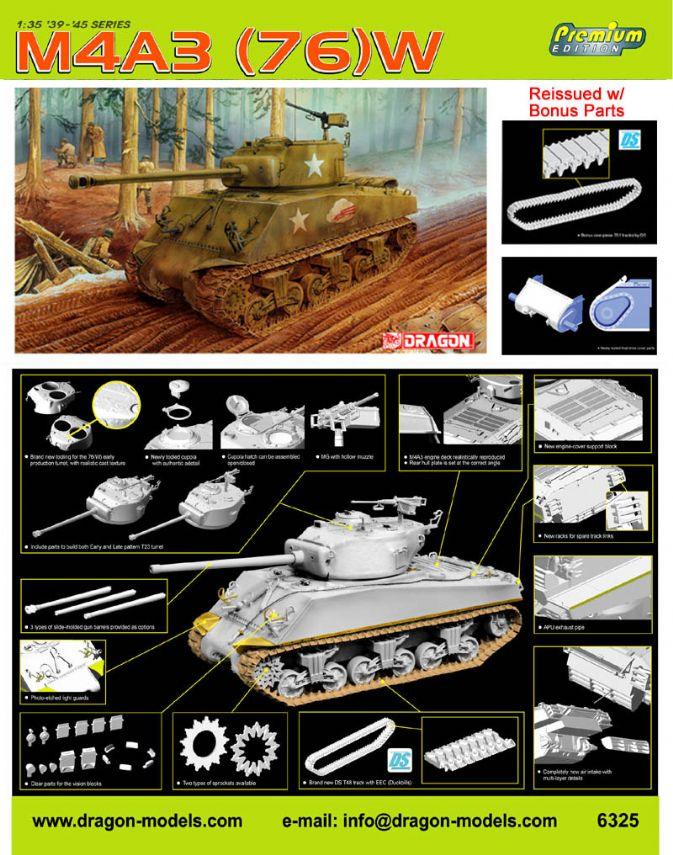 6325 - 1/35 Sherman M4A3(76)W - Dragon Plastic Model Kits