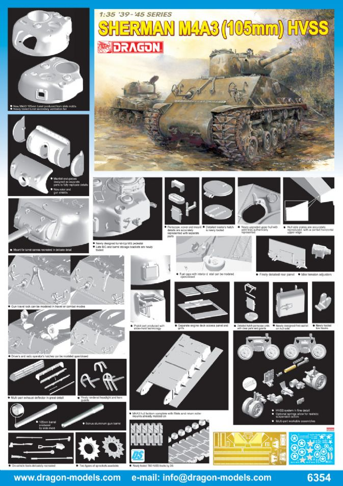 6354 - 1/35 Sherman M4A3 (105mm) HVSS - Dragon Plastic Model