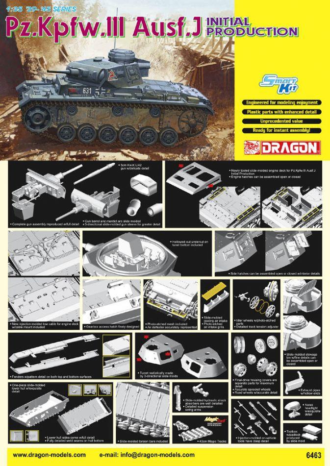 6463 - 1/35 Pz.Kpfw.III Ausf.J Initial Production - Dragon Plastic Model  Kits